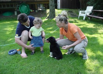 Dog trainer introduces eight week old puppy to two year old baby girl while her mother watches