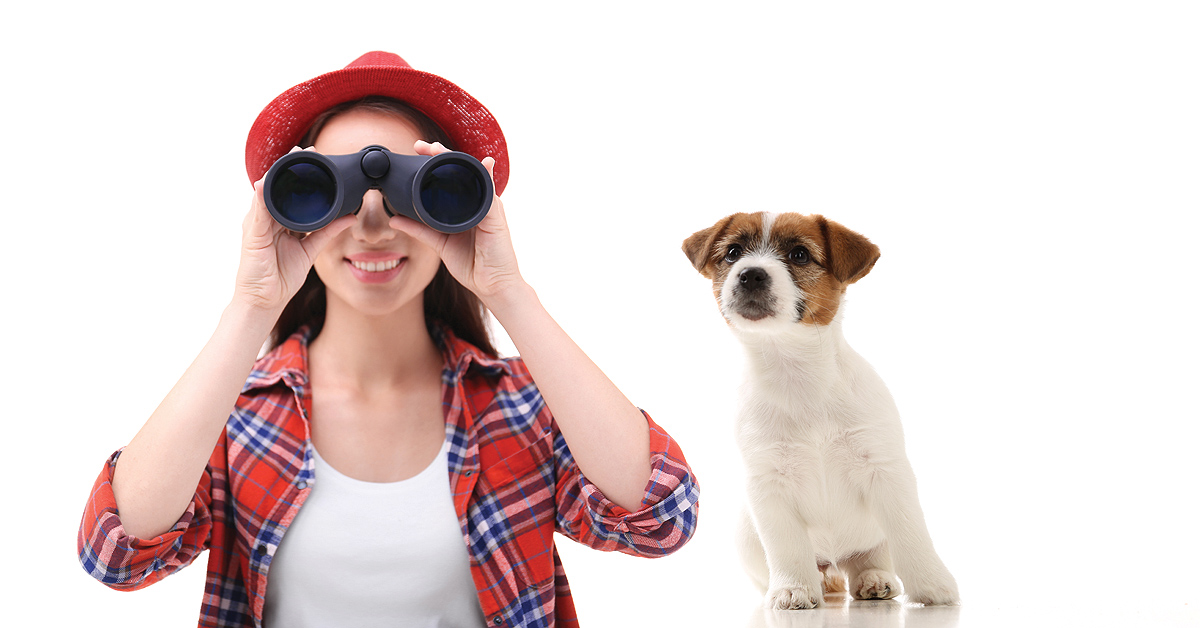 A woman is looking through binoculars. She is looking towards us and has a smile on her face. Meanwhile a cute jack russell puppy is sitting next to her, leaning her way and looking in the same direction.