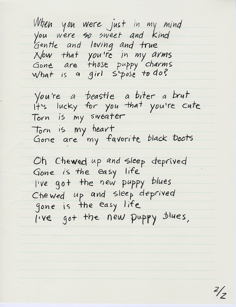 "Words to the Song ""New Puppy Blues"" page 2"