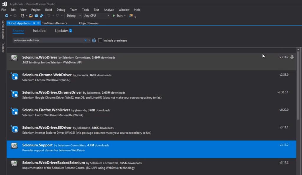 install Selenium webdriver in Applitools