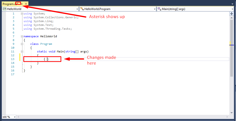 Visual studio asterisk shows up to save - Ultimate QA