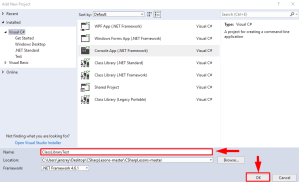 naming a new project on Visual studio