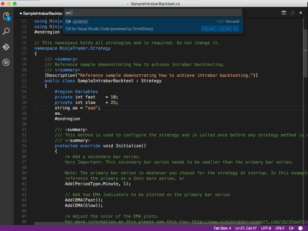 example of comment in C# code