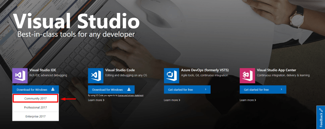 visual studio community edition download page