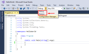 locating debug and release buttons in visual studio