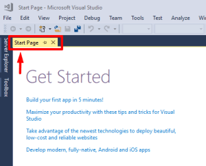 get started with visual studio start page