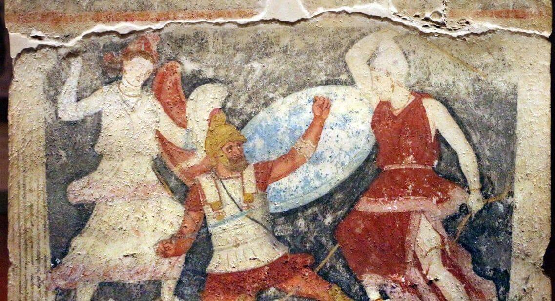 Pentesilea combatte con le amazzoni