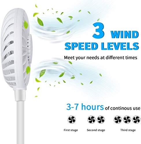 2600MAH Ventilatore da Collo Ventilatore Indossabile da Collo RicaricabileMani LibereVentilatore da TavoloDoppia Ventola con 3 velocit e Luci LED per UfficioAria ApertaViaggi e Sport BIANCA