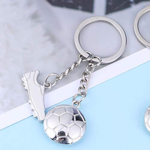 Amosfun 5PCS portachiavi portachiavi sport 3D da calcio e scarpe da calcio party favor argento