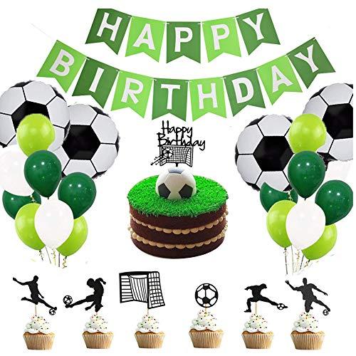 APERIL Palloncini Compleanno Calcio Compleanno Decorazioni per Feste Ragazzo Addobbi Compleanno Buon Compleanno Banner Calcio Champagne Palloncini di Alluminio per Bambini Festa a Tema di Calcio