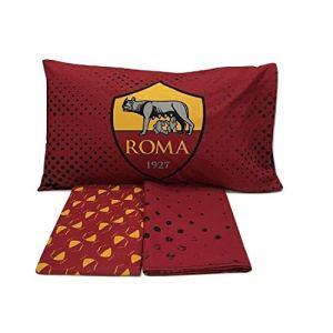 AS Roma 6394673R701 Completo Letto Cotone RossoGiallo Singolo 150 x 280 cm