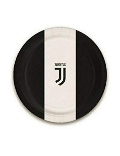 Bigiemme Piatti Juventus Juve Bianco Nero 23 CM 8 PZ in CARTONCINO Decorazioni TAVOLA Compleanno Festa Squadre Calcio