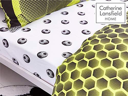 Catherine Lansfield neon Football ricco set copripiumino poliestere vari colori e dimensioni Giallo Set piumone 1 piazza