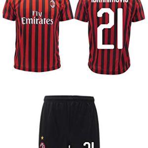 Completo Ibrahimovic Milan Ufficiale 2019 2020 AC Adulto Bambino Ibra Zlatan 21 Maglia  Pantaloncini Ufficiali 12 Anni