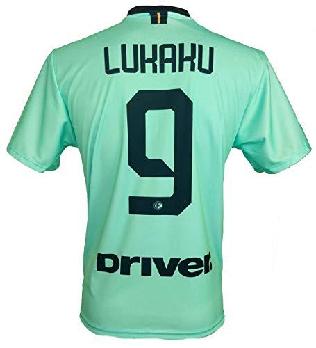 Completo LUKAKU Inter Ufficiale Away Verde 201920 Bambino Uomo Adulto Maglia SECONDA  Pantaloncini Pantaloncino Completino 9 ROMELU Away 10 Anni