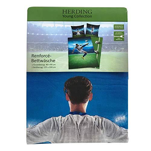Herding Young Collection Set di Set Copripiumino singolo e federa a tema calcio Cotone verde 135  x  200  x   cm