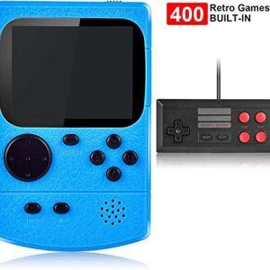 Kiztoys Console di Gioco Portatile Videogiochi Portatili con 400 Giochi Classici Schermo a Colori da 3 Pollici per 2 Giocatori Supporto TV Console per Giochi Portatili 3 Ore per Bambini Adulti