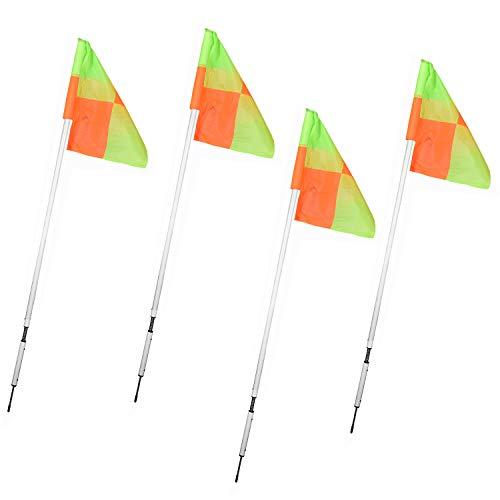 Kosma  Set di 4 bandierine angolari per Allenamento calcistico palo Bianco a Molla con Motivo a Quadretti ArancioneGiallo in Borsa per Il Trasporto