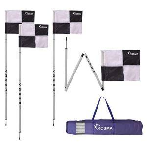 Kosma  Set di 4 bandierine angolari pieghevoli per allenamento di calcio dimensioni 5 m x 25 mm con punta in metallo e bandiere quadranti colore NeroBianco