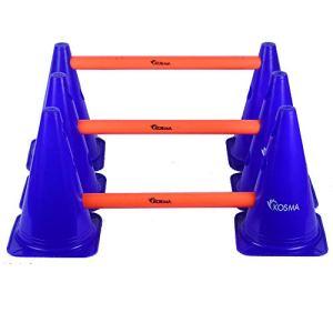 Kosma Set di Ostacoli Multifunzione e Regolabile  10Pc Marker Cono Colore Blu da 9 Pollici con 5Pc Hurdle Pali Colore Arancione Lunghezza 40 cm  in Borsa