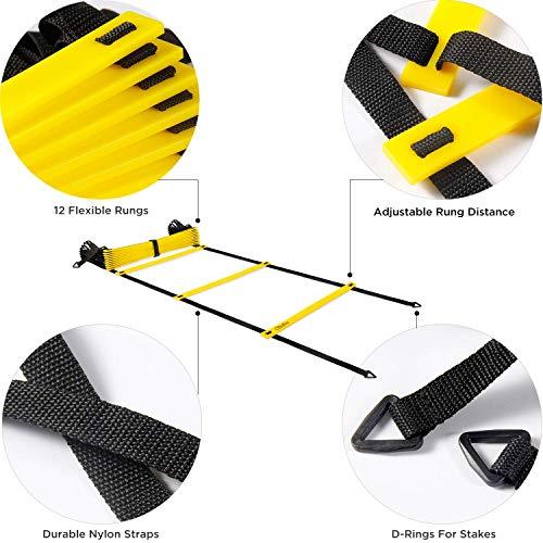 Ohuhu Set di Allenamento e agilit scaletta da12 gradini per la velocit con 12 Coni e 4 paletti equipaggiamento per Allenamento con Scarpe da Calcio