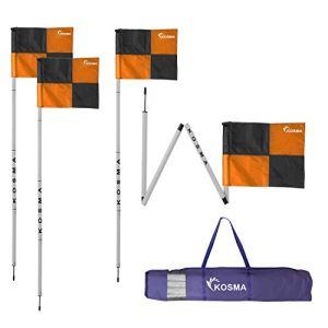 Osma set di 4 bandierine angolari pieghevoli angolari pieghevoli dimensioni 5 m x 25 mm con punta in metallo e bandierine quadranti colore arancionenero in borsa per il trasporto