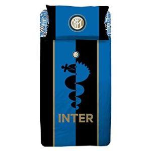 PARURE Sacco Copripiumino Letto Singolo 1 Una Piazza Ufficiale Inter FC Nero Azzurro 100 Cotone Sacca  1 Federa
