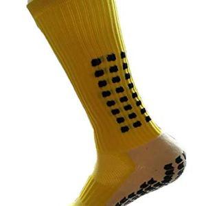 PreSox calze sportive unisex con pallini in gomma per una maggiore aderenza perfette per calcio baseball e football con parastinchi Yellow Taglia unica
