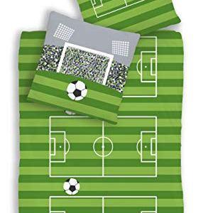 Renforce biancheria da letto per bambini motivo calcio campo da gioco e porta di colore verde e grigio 2pezzi dimensioni 80x 80 135x 200cm100 cotone