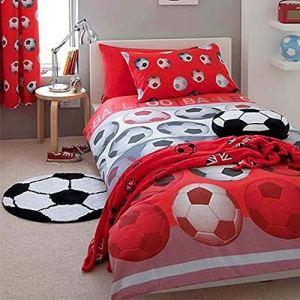 Set copripiumino per letto singolo motivo calcio rosso