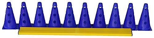 Set di 5 ostacoli per allenamento  10x coni multiuso 23 cm blu 5x aste 100 cm giallo