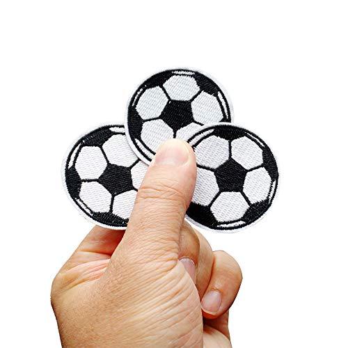 Toppa termoadesiva a forma di pallone da calcio per bambini applique per progetti fai da te abbigliamento jeans giacche e zaini 12 pezzi