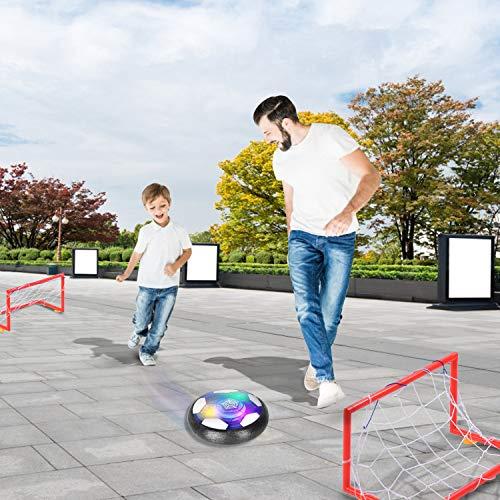 Ulikey Pallone da Calcio da Casa Fluttuante Air Football Calcio da Interno Hover Ball LED Lampeggiante Ball con 2 Porte Training Football Giocattoli Sportivi per Bambini Natale Regalo