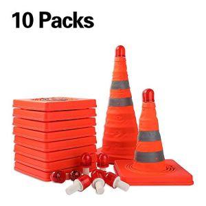 Worth 10 x Cono Pieghevole in Materiale Stradale Cono 45 cm in PP con Coni di Sicurezza Cono di Avvertimento escludere Le batterie