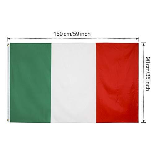 YHmall 2pcs Bandiera Italiana 150x90 cmBandiera FranceseBandiera TedescaBandiera Spagnola Bandiera Conferenza Bandiera Giardino Bandiera Parata Bandiera Calcio