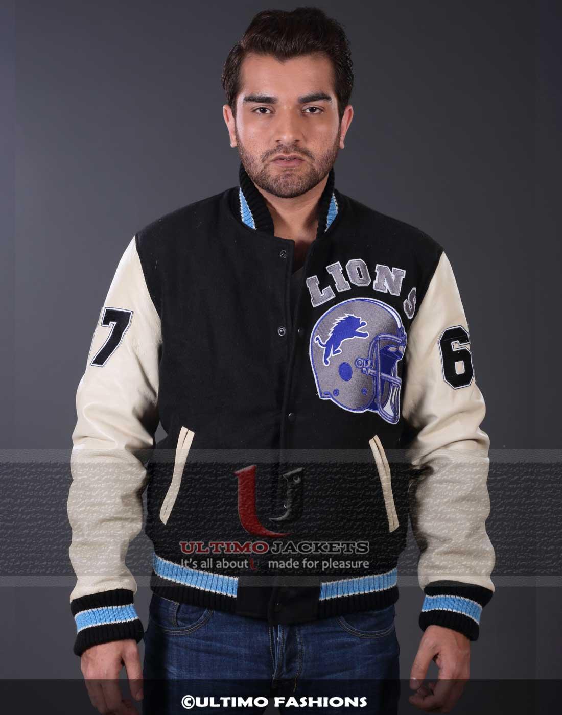 Beverly Hills Cop DETROIT LIONS Axel Foley LETTERMAN Jacket