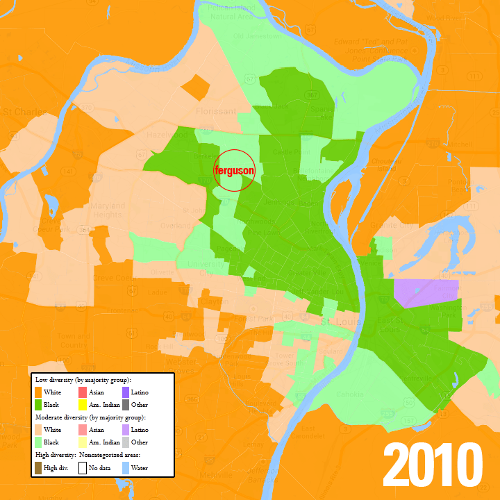 The St. Louis metro area in 2010, with census blocks mapped by majority race. Data from www.mixedmetro.us