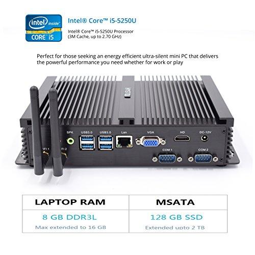 hystou fmp04fanless Core i5, Gaming Mini PC, mini PC Ordinateur de bureau avec Intel Core i55250u 2.6GHz 300m wifi 8GB RAM 128GB SSD