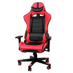 IWMH Racing Chaise de Bureau En PU, Fauteuil siège Gaming avec inclinaison de 135° Appui-tête et Soutien Lombaire Ajustable (Rouge)
