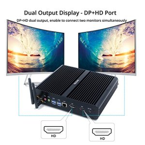 hystou fmp05b fanless Core i7, Gaming Mini PC, mini PC Ordinateur de bureau avec Intel Core i77500u 3,5GHz 300m wifi 16GB RAM 512GB SSD