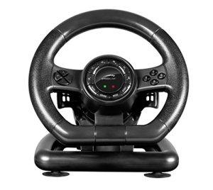 Speedlink Black BOLT Racing Wheel – Volant de Gaming pour PC (Xinput et DirectInput, Vibration, 12 Boutons et 2 Hotkeys) Noi