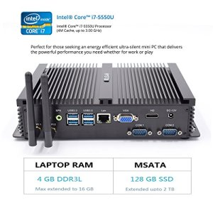 hystou fmp04fanless Core i7, Gaming Mini PC, mini PC Ordinateur de bureau avec Intel Core i75550u 3.0GHz 300m wifi 4GB RAM 128GB SSD