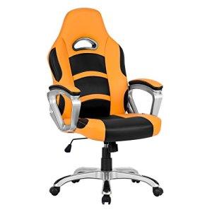 LANGRIA Fauteuil de Bureau Racing pour Gaming, Faux Cuir, Mécanisme d'Inclination (90-105 Degrés), Dossier Haut, Accoudoir, Repose-tête, Pivotant 360 Degrés, 120 kg de Capacité (Orange et Noir)
