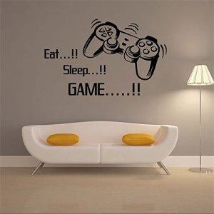 Weaeo Jouer Jeu Mural Eat Sleep Affiches Devis Jeu Jeu Vidéo Art Papier Peint Autocollant Mural En Vinyle Pour Les Garçons Prix Play Room Decoration