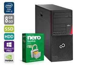 PC Gamer Multimiédia Unité Centrale Fujitsu W410 – Nvidia Geforce GTX 1050 – Intel Core i5-2400 @ 3,1 GHz – 8 Go DDR3 RAM – 250 Go SSD – 1 to HDD – Lecteur DVD – Win 10 Pro (Reconditionné Certifié)