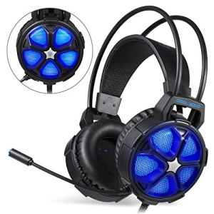 EasySMX Casque Casque de Jeux pour PS4 Stéréo Filaire Gaming avec Mic LED Lamp Noise Cancellation et sous-Ligne Contrôleur Compatible pour PS4, PC, Laptop, Tablette, et Tous Les Smartphone (Bleu)