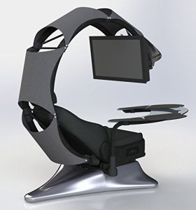 Drian Station de travail, Chaise de bureau et bureau combiné pour le Gaming (Blanc pur) Modern Gry