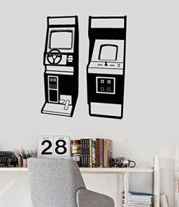 Grand Autocollant Mural logements Définis Jeu Vidéo Vieux Joueur Arcade Stickers muraux en Vinyle (Ig2861) M 22.5 in X 28 in Matte_Black