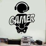 Sticker mural Tatouage mural autocollant mural pour Gaming Gamer Manette de jeu vidéo en vinyle