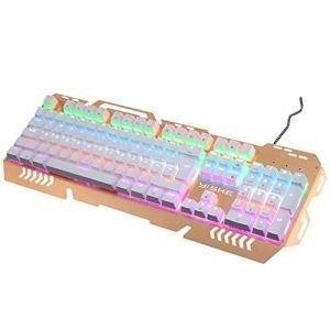 GYDP Clavier mécanique avec interrupteurs Bleus 104 Touches Full Anti-ghosting Gaming Keyboard Panneau en Aluminium avec 12 Modes rétroéclairés LED